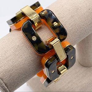 J. Crew Tortoise & Orange Bold Links Bracelet
